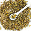 Chamomile with spoon — Stock Photo