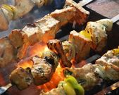 Salmon kebabs — Stock Photo