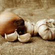 Stock Photo: Onions and garlic