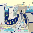 Caricature of the city. — Imagen vectorial