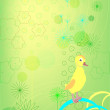 Duckling on a green background - Stock Vector