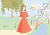 Princess with a bird — Stock Vector