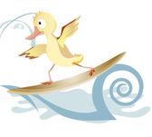 滑板上的小鸭 — 图库矢量图片