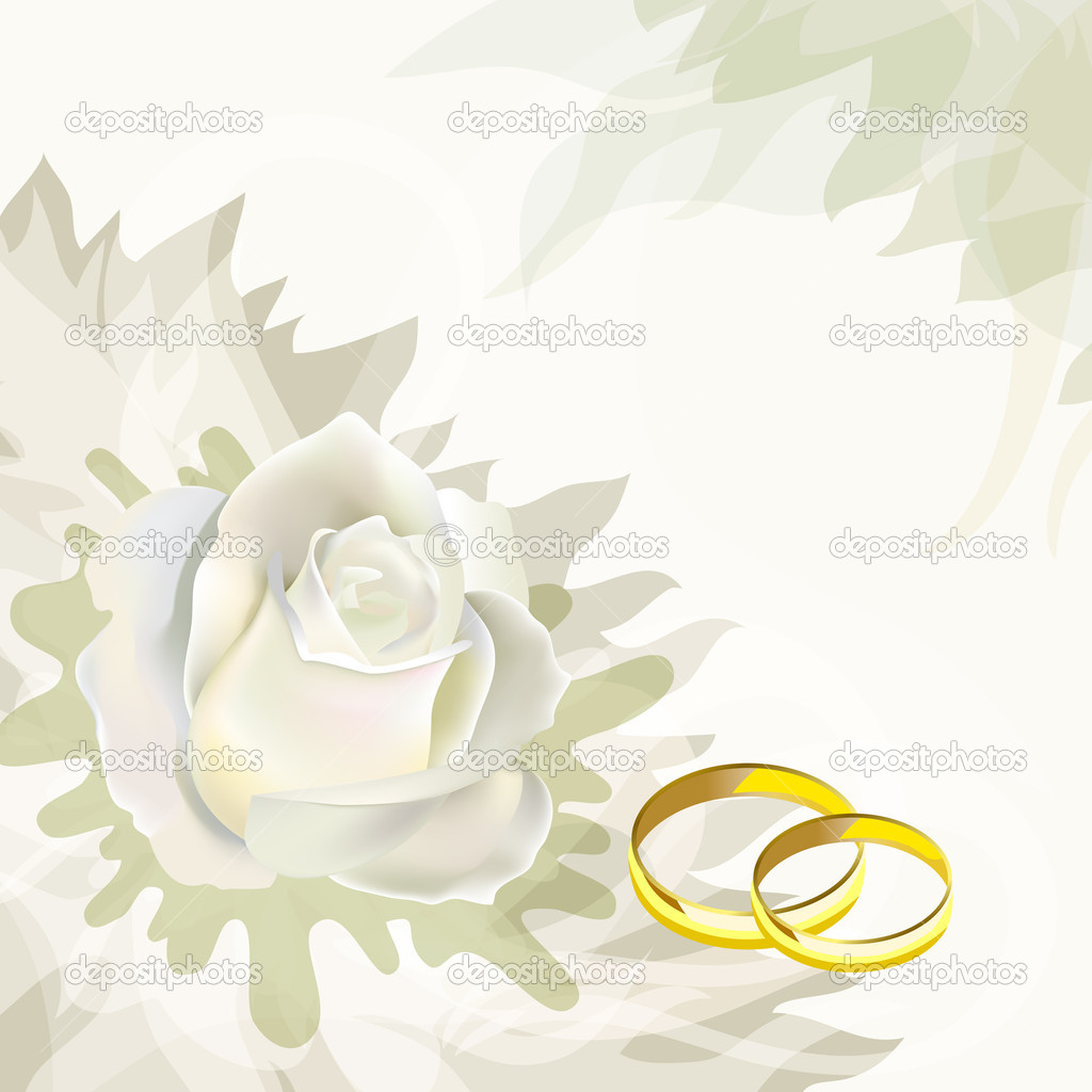 White rose and wedding rings. Wedding Card. — Stock Vector #4954393