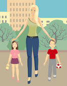 Mother with children walking in the city park. — Stock Vector