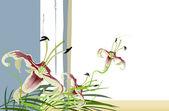 Un bouquet de fleurs de lys — Vecteur