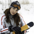 Girl with a ski in ski suits — Stock Photo