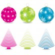 Set of colorful christmas trees illustrations vector — Stock Vector