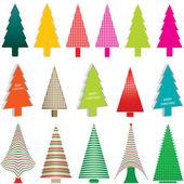 Ensemble de noël coloré des arbres vecteur d'illustrations — Vecteur