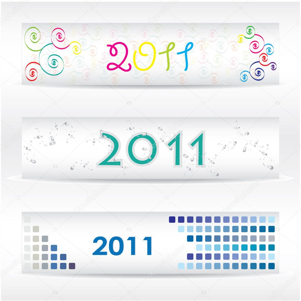 Vector set of three header design stock illustration