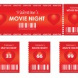 Valentine's movie night — Vector de stock
