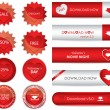 Special red website download buttons - valentine's day edition — Imagen vectorial