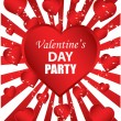 Valentine's Day Party - red background — Stock Vector