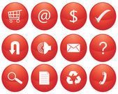 Red glossy Icon Set for Web Applications - Vector — Stockvector