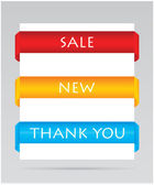 Set of paper tags for sale, new and thank you items — Stock Vector