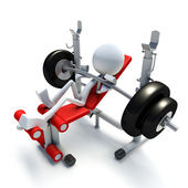 3D character bench pressing — Stock Photo