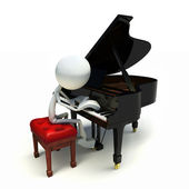 3D character playing the piano — Stock Photo