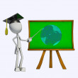 3D Teacher and green board - Stock Photo