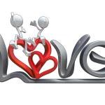 3D postavy objímání na slovo láska — Stock fotografie