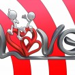 3D characters hugging on the word love. — Stock Photo #4952900