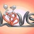 3D characters hugging on the word love. — Stock Photo