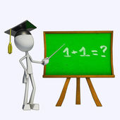 3D Teacher and green board — Stock Photo