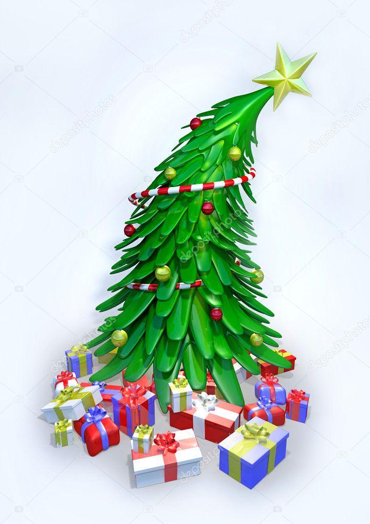 3d 圣诞树和礼物