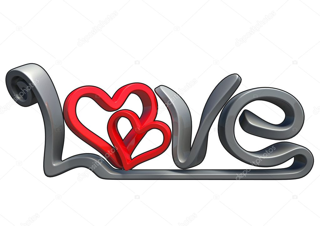 Text that says the word Love, Made in 3D software, isolated on white background, with black border. — Stock Photo #4952889