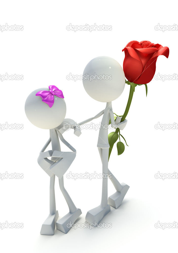 3D character giving away rose, isolated on white background — Stock Photo #4952953