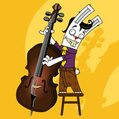 Rabbit contrabass — Stock Vector