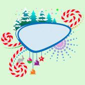 Noel ağaçları ile çerçeve — Stok Vektör