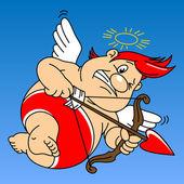 Funny fat cupid — Stock Vector