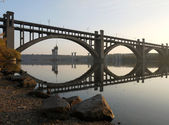 The bridge across the Dnieper river — Stock Photo