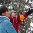 Mother and son in winter, — Stock Photo