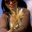 Woman shows stalks of wheat. — Stock Photo