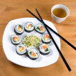 Korestyle sushi and tea. — Stock Photo #4897756