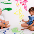 Children painting pictures. — Stock Photo