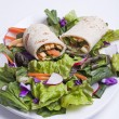 Fresh salad and veggie wrap. — Stock Photo