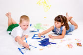Two children painting. — Stock Photo