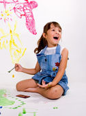 Young girl painting. — Stock Photo