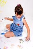 Girl makes handprint. — Foto de Stock