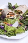 Vegetariánský wrap a salát. — Stock fotografie