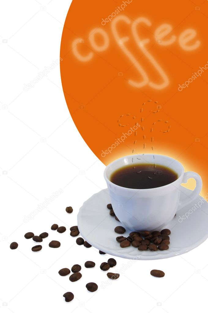 Collage with white cup of coffee and coffee grain — Stock Photo #5357978