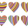 Stock Vector: Striped hearts
