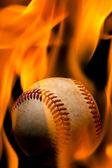 Fiery baseball — Stock Photo
