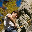 Man climbing a rock short — Stock Photo #5023451