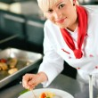 Female Chef in a restaurant or — Stock Photo