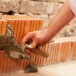 Stock Photo: Bricklayer laying bricks to make