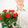 Guy with roses - Stock Photo