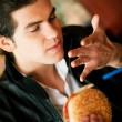 Man in a restaurant or diner — Stock Photo